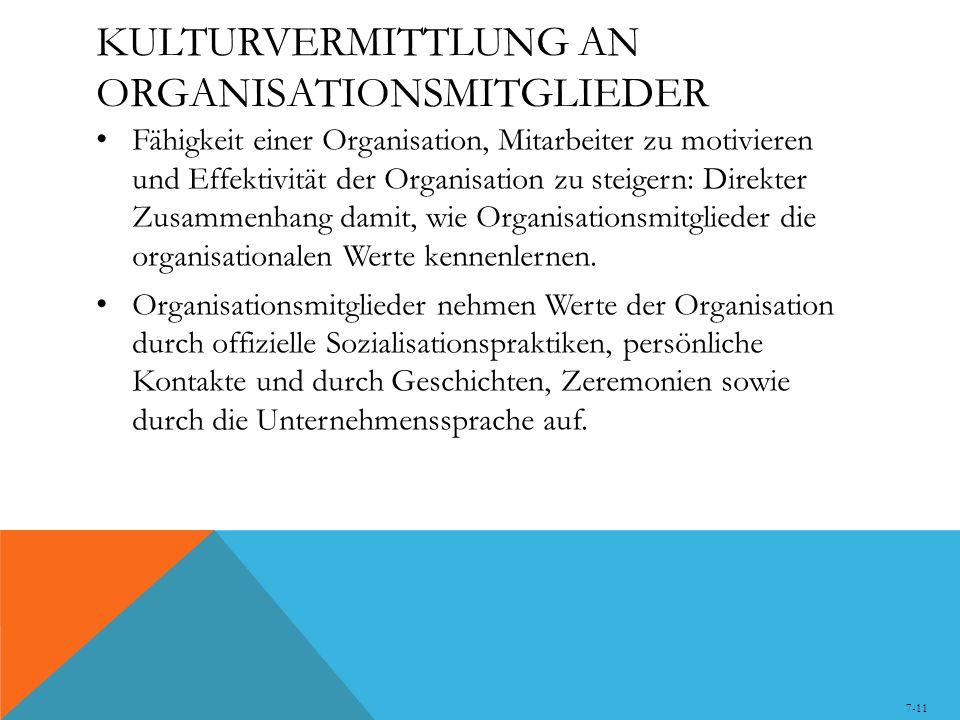 KULTURVERMITTLUNG AN ORGANISATIONSMITGLIEDER Fähigkeit einer Organisation, Mitarbeiter zu motivieren und Effektivität der Organisation zu steigern: Direkter Zusammenhang damit, wie Organisationsmitglieder die organisationalen Werte kennenlernen.