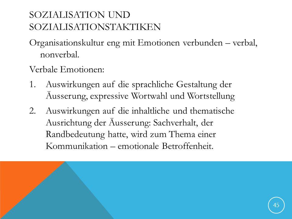 SOZIALISATION UND SOZIALISATIONSTAKTIKEN Organisationskultur eng mit Emotionen verbunden – verbal, nonverbal.