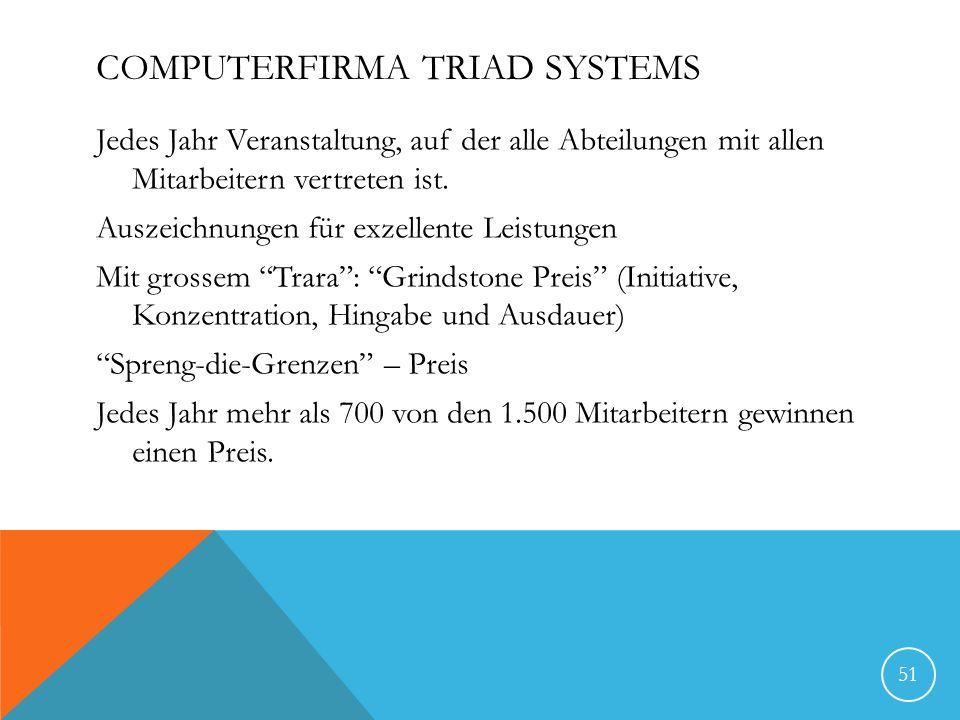 COMPUTERFIRMA TRIAD SYSTEMS Jedes Jahr Veranstaltung, auf der alle Abteilungen mit allen Mitarbeitern vertreten ist.