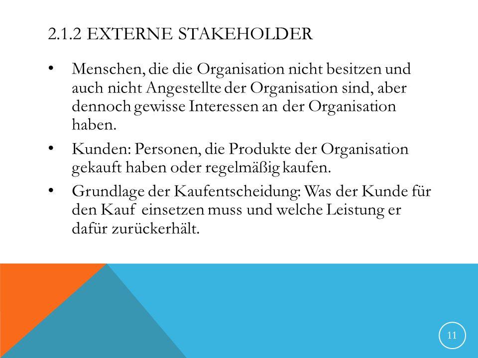 2.1.2 EXTERNE STAKEHOLDER Menschen, die die Organisation nicht besitzen und auch nicht Angestellte der Organisation sind, aber dennoch gewisse Interes