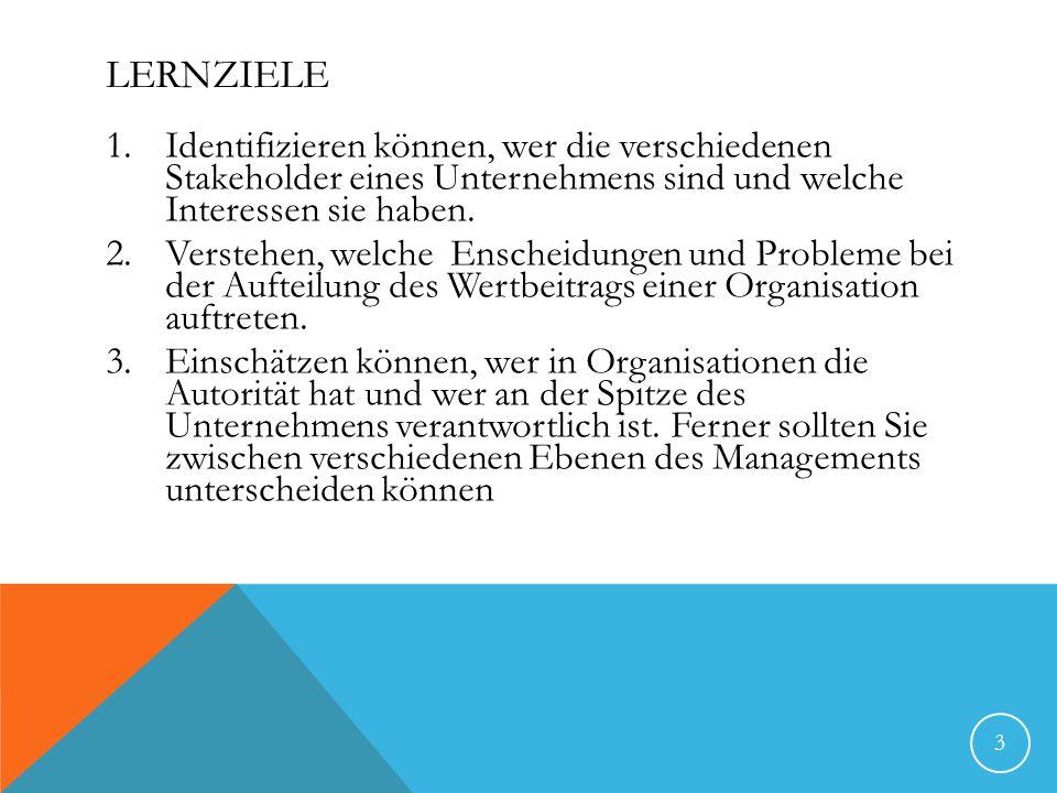 LERNZIELE 1.Identifizieren können, wer die verschiedenen Stakeholder eines Unternehmens sind und welche Interessen sie haben. 2.Verstehen, welche Ensc