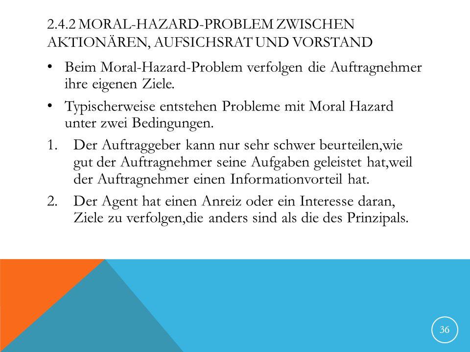 2.4.2 MORAL-HAZARD-PROBLEM ZWISCHEN AKTIONÄREN, AUFSICHSRAT UND VORSTAND Beim Moral-Hazard-Problem verfolgen die Auftragnehmer ihre eigenen Ziele. Typ