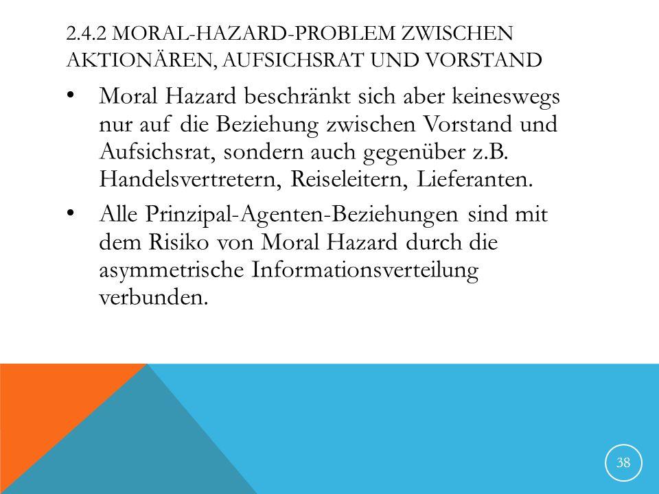 2.4.2 MORAL-HAZARD-PROBLEM ZWISCHEN AKTIONÄREN, AUFSICHSRAT UND VORSTAND Moral Hazard beschränkt sich aber keineswegs nur auf die Beziehung zwischen V