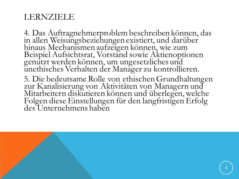 LERNZIELE 4. Das Auftragnehmerproblem beschreiben können, das in allen Weisungsbeziehungen existiert, und darüber hinaus Mechanismen aufzeigen können,