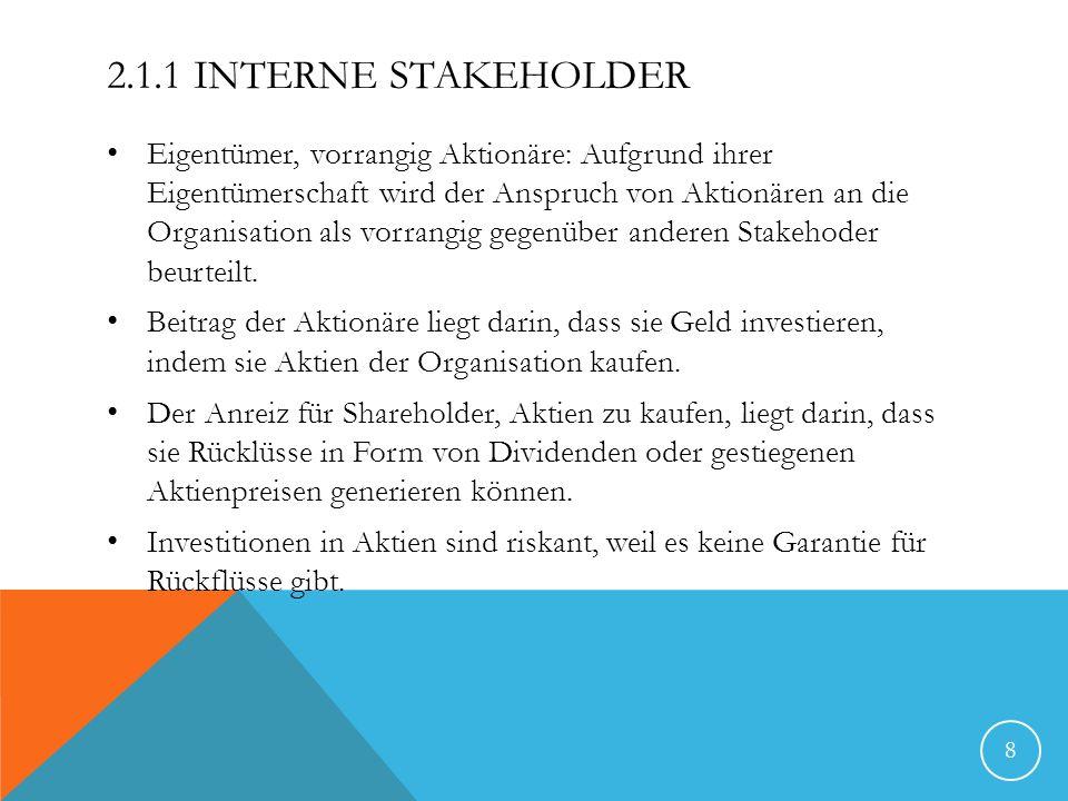 2.1.1 INTERNE STAKEHOLDER Eigentümer, vorrangig Aktionäre: Aufgrund ihrer Eigentümerschaft wird der Anspruch von Aktionären an die Organisation als vo