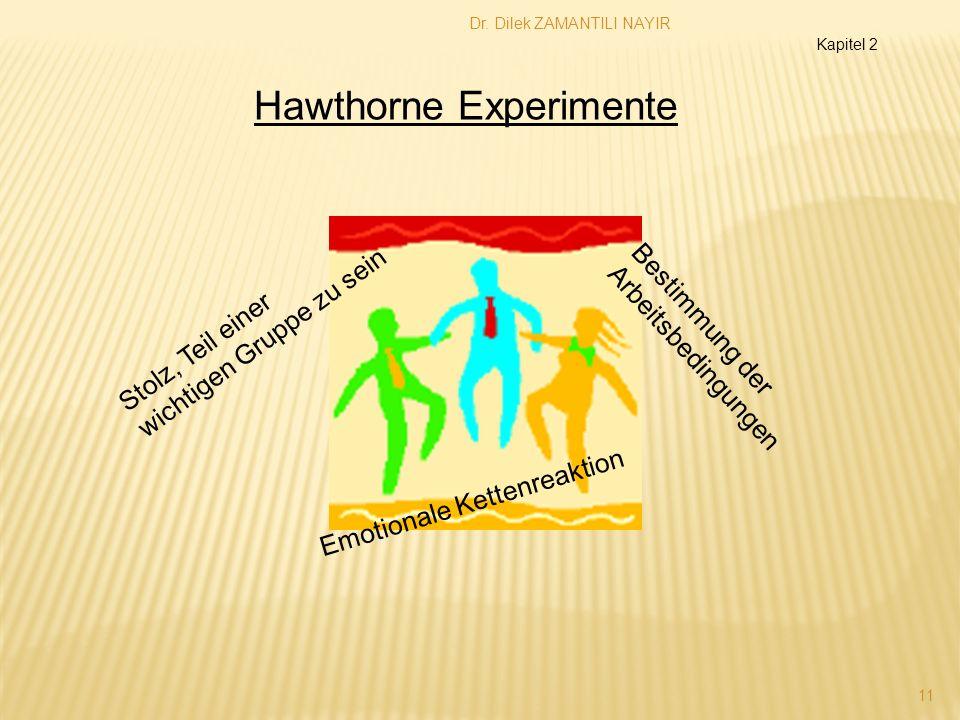 Dr. Dilek ZAMANTILI NAYIR 11 Stolz, Teil einer wichtigen Gruppe zu sein Bestimmung der Arbeitsbedingungen Emotionale Kettenreaktion Hawthorne Experime