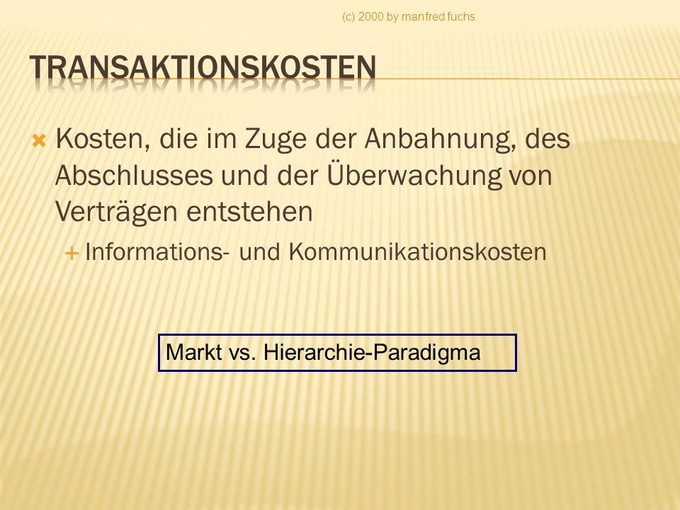 (c) 2000 by manfred fuchs Kosten, die im Zuge der Anbahnung, des Abschlusses und der Überwachung von Verträgen entstehen Informations- und Kommunikationskosten Markt vs.
