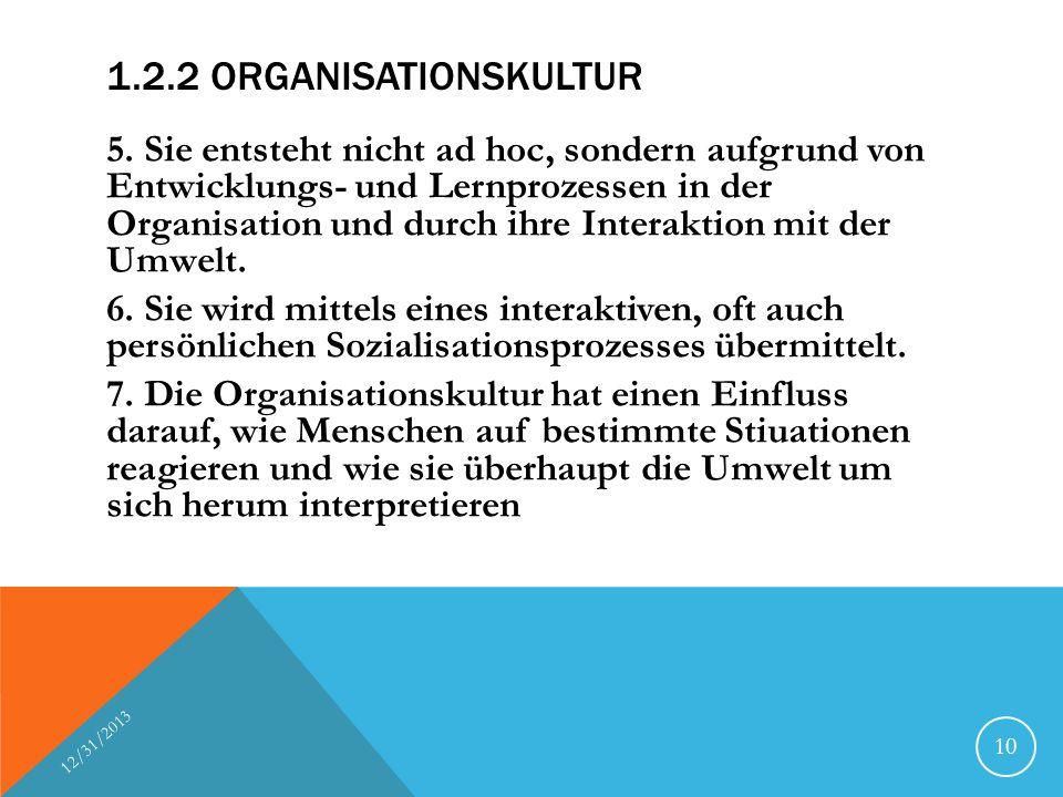 1.2.2 ORGANISATIONSKULTUR 5. Sie entsteht nicht ad hoc, sondern aufgrund von Entwicklungs- und Lernprozessen in der Organisation und durch ihre Intera