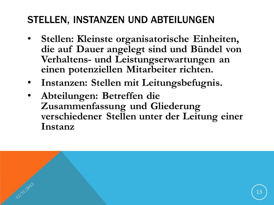 STELLEN, INSTANZEN UND ABTEILUNGEN Stellen: Kleinste organisatorische Einheiten, die auf Dauer angelegt sind und Bündel von Verhaltens- und Leistungse
