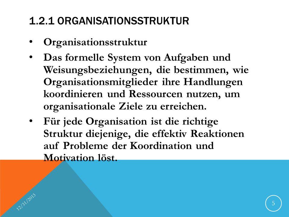 1.2.1 ORGANISATIONSSTRUKTUR Organisationsstruktur Das formelle System von Aufgaben und Weisungsbeziehungen, die bestimmen, wie Organisationsmitglieder