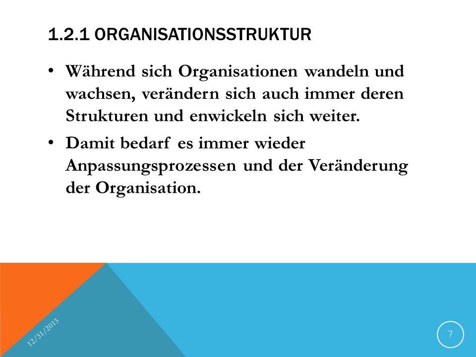 1.2.1 ORGANISATIONSSTRUKTUR Während sich Organisationen wandeln und wachsen, verändern sich auch immer deren Strukturen und enwickeln sich weiter. Dam