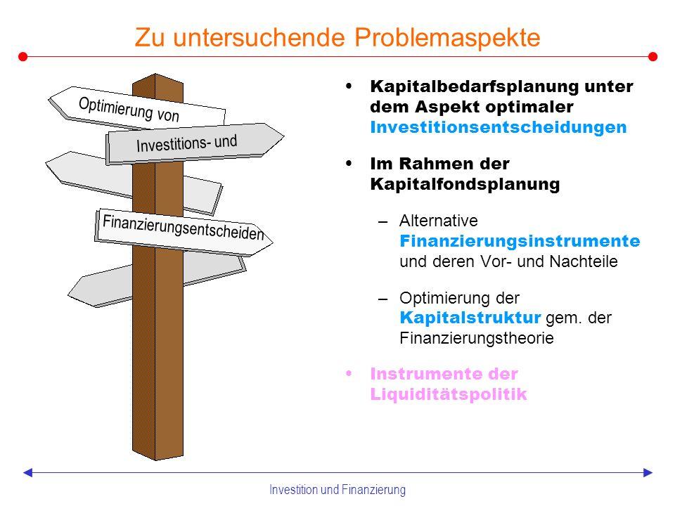 Investition und Finanzierung 1.5 Teilpläne der Finanzpolitik Teilpläne betrieblicher Finanzpolitik