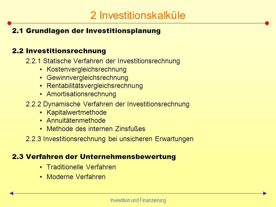 Investition und Finanzierung Zu untersuchende Problemaspekte Kapitalbedarfsplanung unter dem Aspekt optimaler Investitionsentscheidungen Im Rahmen der Kapitalfondsplanung –Alternative Finanzierungsinstrumente und deren Vor- und Nachteile –Optimierung der Kapitalstruktur gem.