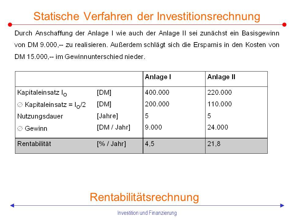Investition und Finanzierung 2.21 Statische Verfahren der Investitionsrechnung Rentabilitätsrechnung