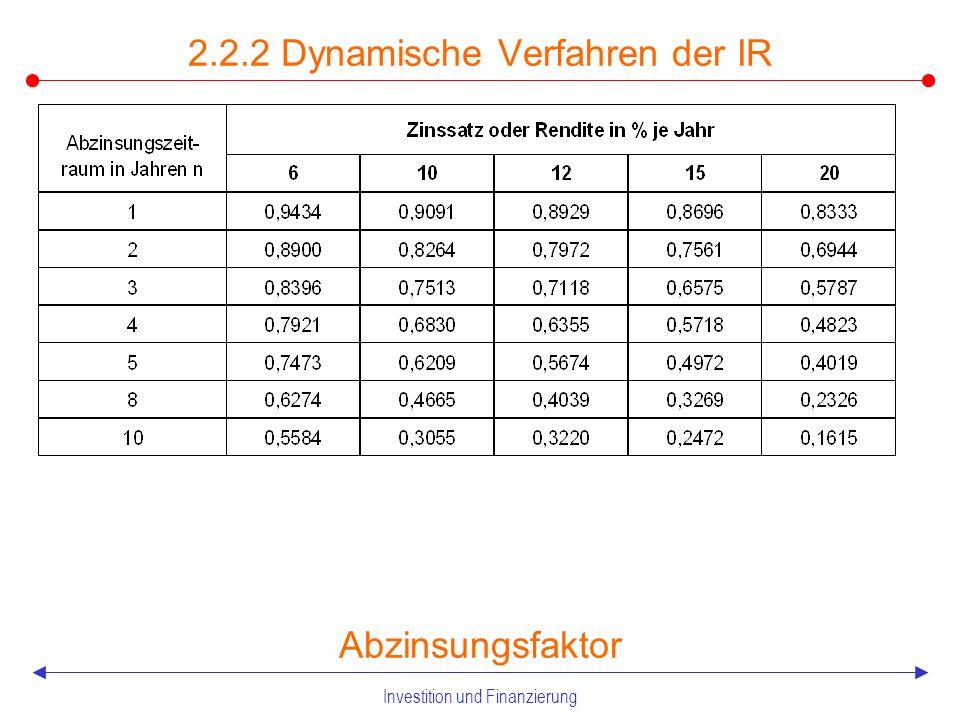 Investition und Finanzierung 2.2.2 Dynamische Verfahren der IR Aufzinsungsfaktor