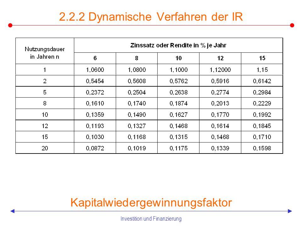 Investition und Finanzierung 2.2.2 Dynamische Verfahren der IR Abzinsungsfaktor