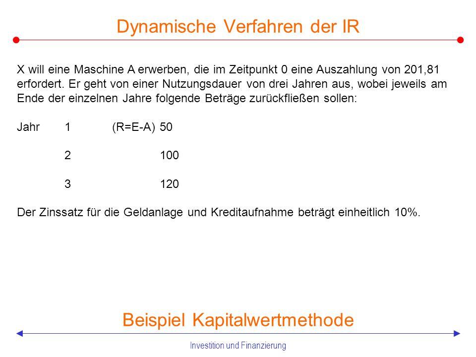 Investition und Finanzierung 2.2.2 Dynamische Verfahren der IR Kapitalwertmethode