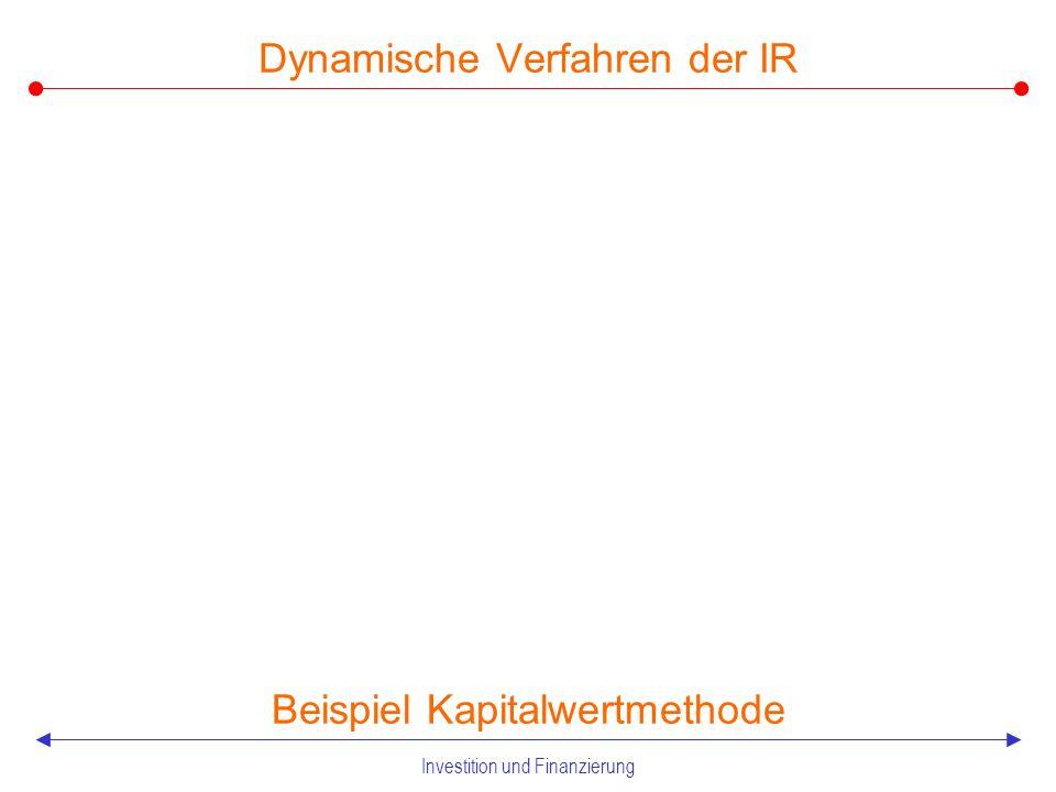 Investition und Finanzierung Dynamische Verfahren der IR Beispiel Kapitalwertmethode X will eine Maschine A erwerben, die im Zeitpunkt 0 eine Auszahlung von 201,81 erfordert.