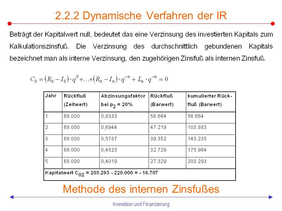 Investition und Finanzierung Dynamische Verfahren der IR Beispiel Annuitätenmethode