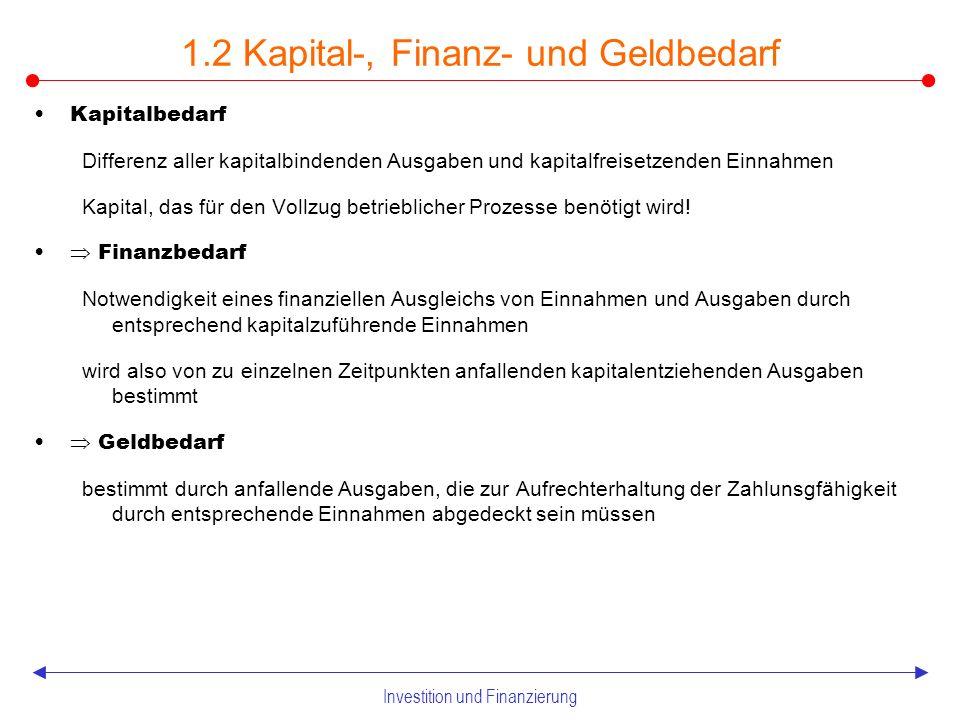Investition und Finanzierung Unterschiede zwischen Eigen- und Fremdkapital 1.1 Finanzielle Bestands- und Stromgrößen