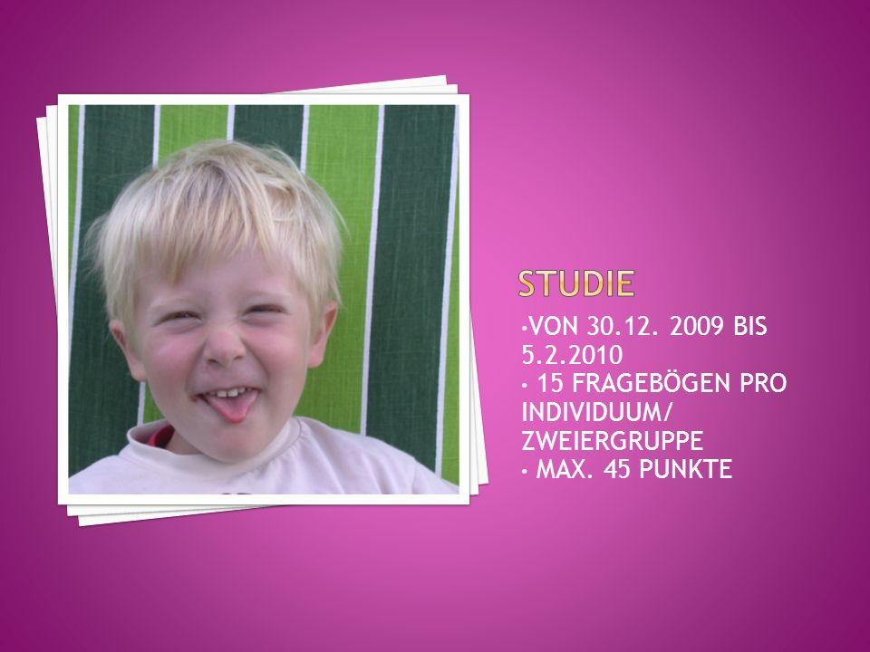 VON 30.12. 2009 BIS 5.2.2010 15 FRAGEBÖGEN PRO INDIVIDUUM/ ZWEIERGRUPPE MAX. 45 PUNKTE