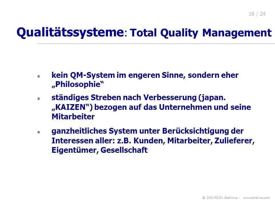 © 2001 PD Dr. Scahlmus www.schalnus.com 16 / 24 Qualitätssysteme : Total Quality Management kein QM-System im engeren Sinne, sondern eher Philosophie