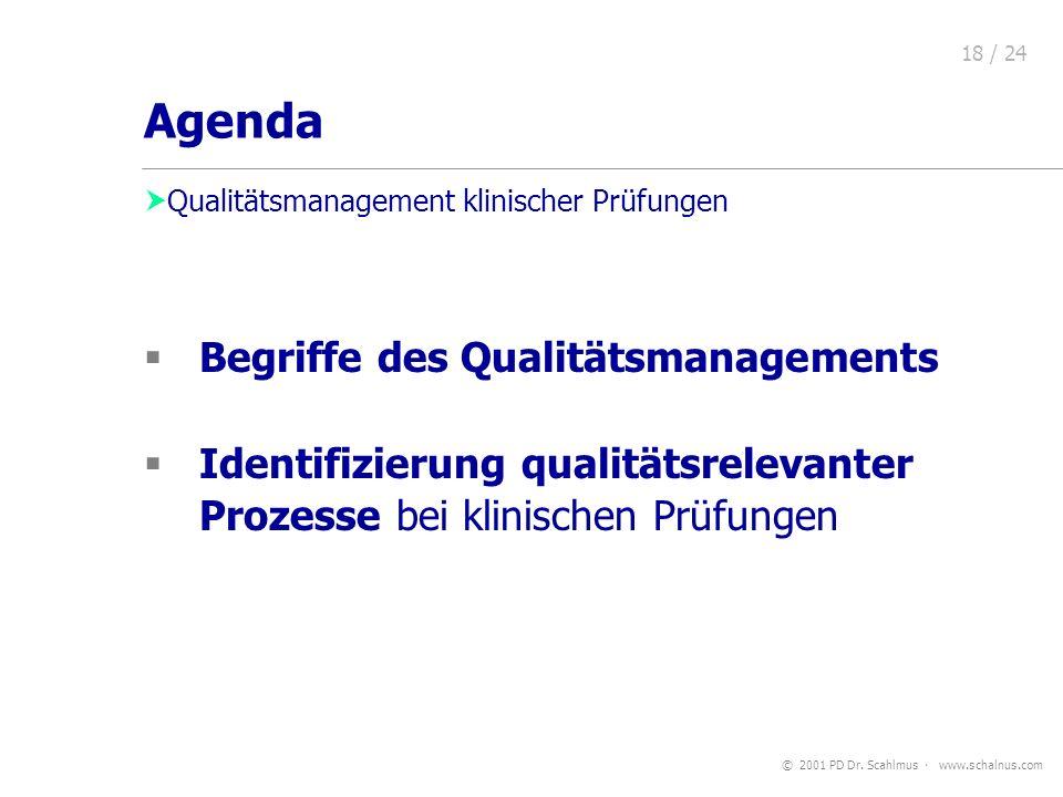 © 2001 PD Dr. Scahlmus www.schalnus.com 18 / 24 Begriffe des Qualitätsmanagements Identifizierung qualitätsrelevanter Prozesse bei klinischen Prüfunge