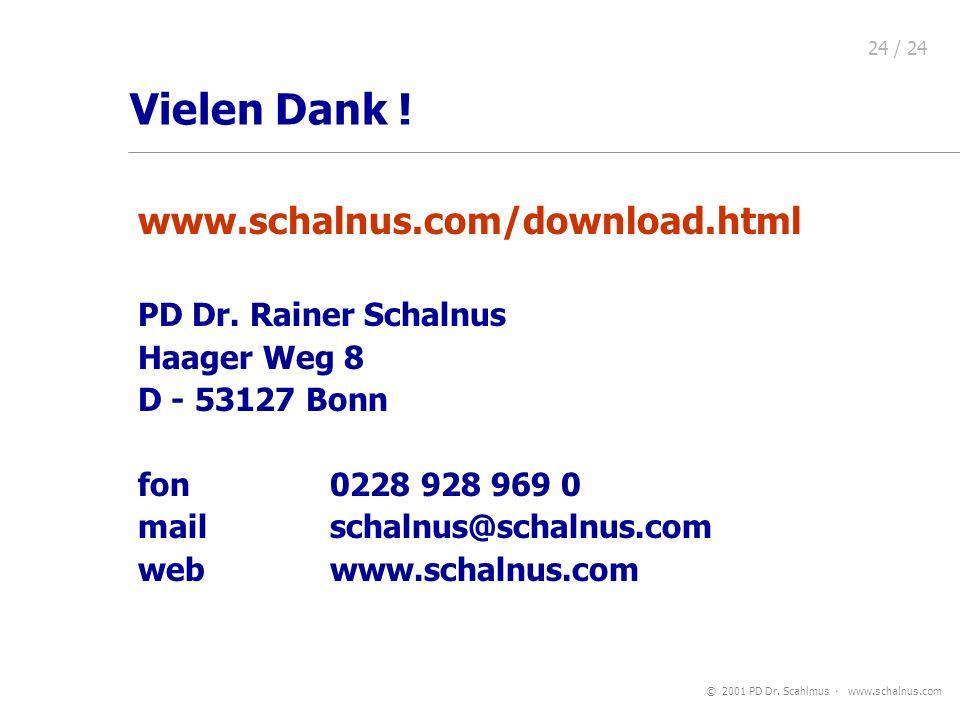 © 2001 PD Dr. Scahlmus www.schalnus.com 24 / 24 www.schalnus.com/download.html PD Dr. Rainer Schalnus Haager Weg 8 D - 53127 Bonn fon 0228 928 969 0 m