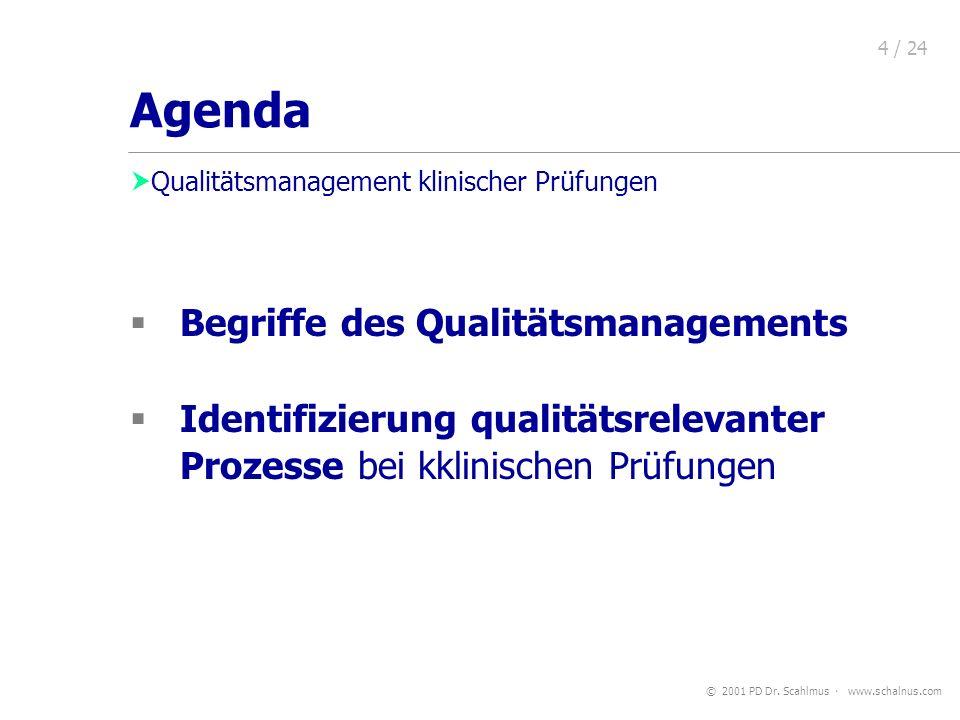 © 2001 PD Dr. Scahlmus www.schalnus.com 4 / 24 Begriffe des Qualitätsmanagements Identifizierung qualitätsrelevanter Prozesse bei kklinischen Prüfunge