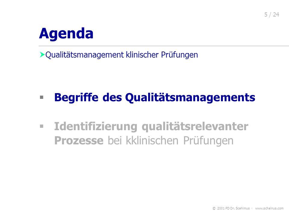 © 2001 PD Dr. Scahlmus www.schalnus.com 5 / 24 Begriffe des Qualitätsmanagements Identifizierung qualitätsrelevanter Prozesse bei kklinischen Prüfunge