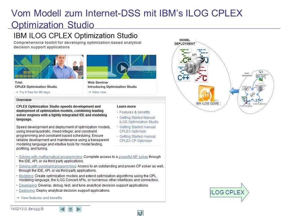 14/02/13 G. Beroggi © Vom Modell zum Internet-DSS mit IBMs ILOG CPLEX Optimization Studio ILOG CPLEX