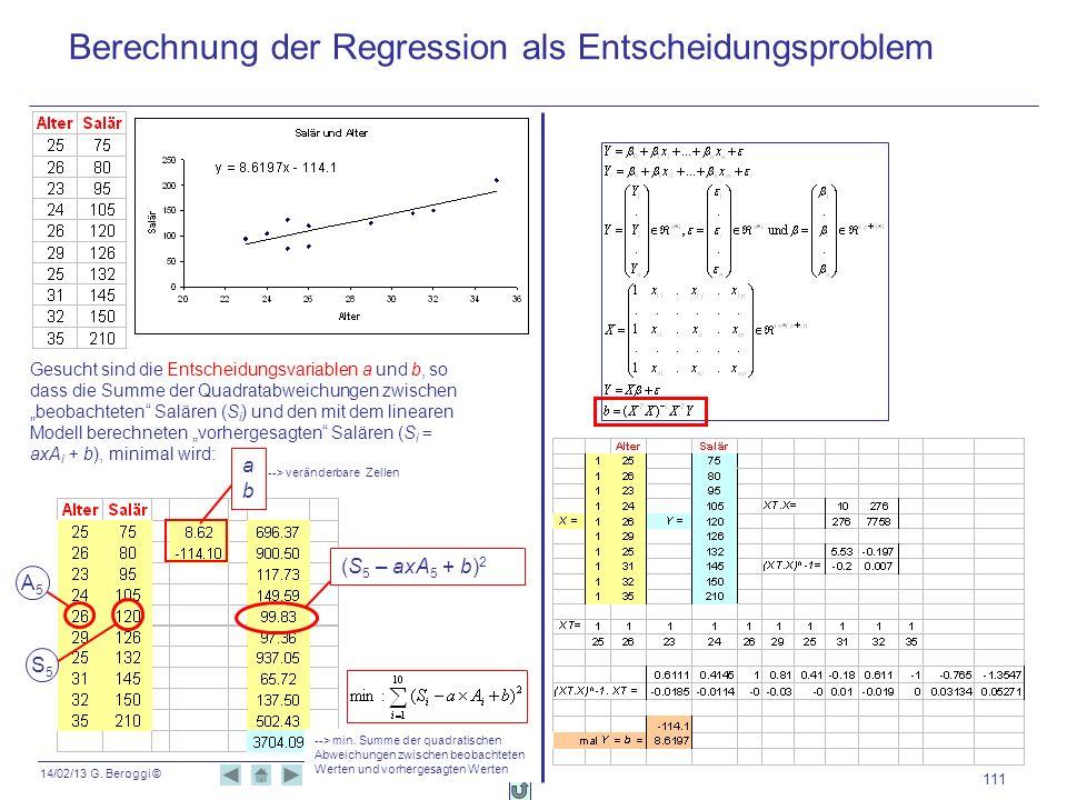 14/02/13 G. Beroggi © --> veränderbare Zellen 111 Berechnung der Regression als Entscheidungsproblem Gesucht sind die Entscheidungsvariablen a und b,