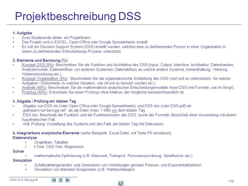 14/02/13 G. Beroggi © 116 Projektbeschreibung DSS 1. Aufgabe Zwei Studierende bilden ein Projektteam. Das Projekt wird in EXCEL, Open Office oder Goog
