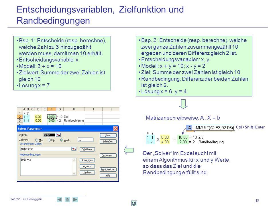 14/02/13 G. Beroggi © 18 Entscheidungsvariablen, Zielfunktion und Randbedingungen Bsp. 1: Entscheide (resp. berechne), welche Zahl zu 3 hinzugezählt w