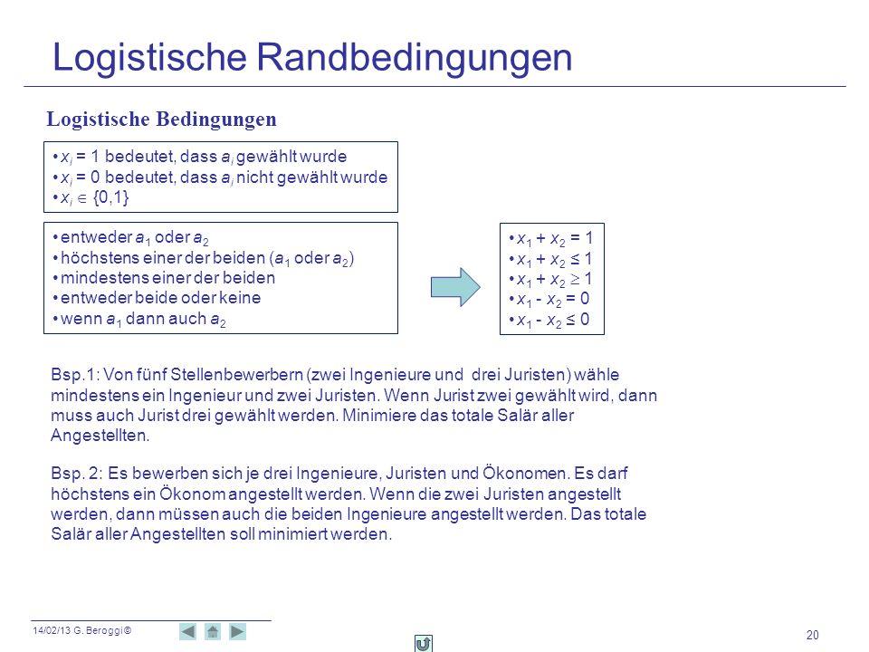 14/02/13 G. Beroggi © 20 Logistische Randbedingungen Logistische Bedingungen x i = 1 bedeutet, dass a i gewählt wurde x i = 0 bedeutet, dass a i nicht