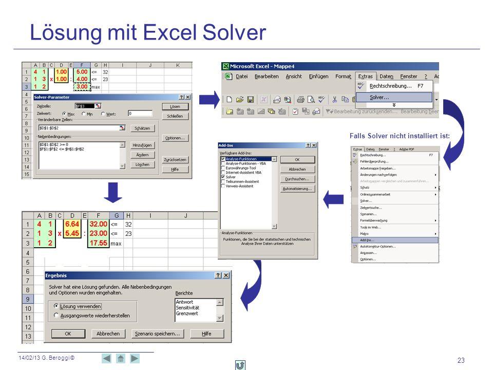 14/02/13 G. Beroggi © 23 Lösung mit Excel Solver Falls Solver nicht installiert ist: