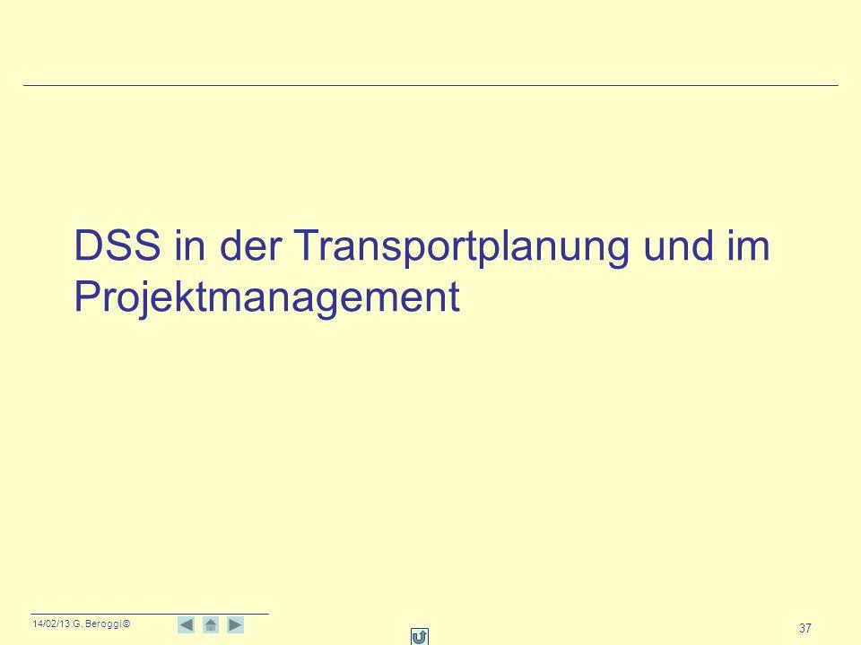 14/02/13 G. Beroggi © 37 DSS in der Transportplanung und im Projektmanagement