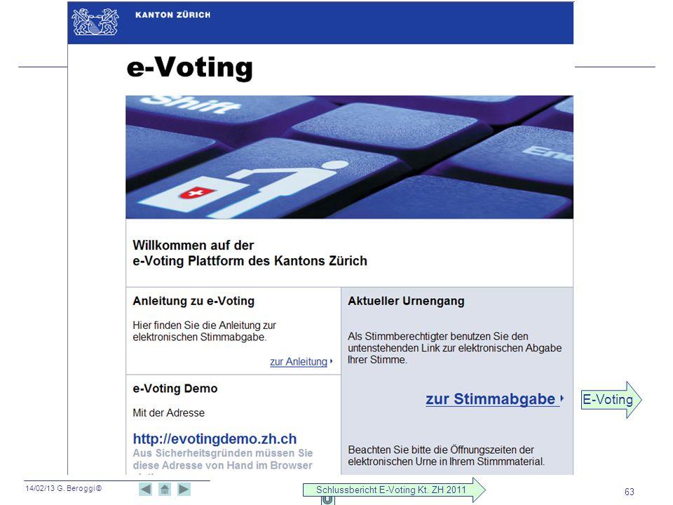 14/02/13 G. Beroggi © 63 E-Voting Schlussbericht E-Voting Kt. ZH 2011
