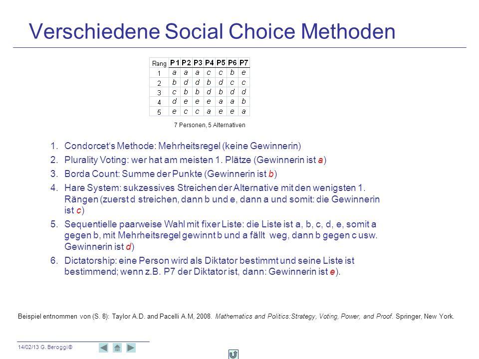 14/02/13 G. Beroggi © Verschiedene Social Choice Methoden 1.Condorcets Methode: Mehrheitsregel (keine Gewinnerin) 2.Plurality Voting: wer hat am meist