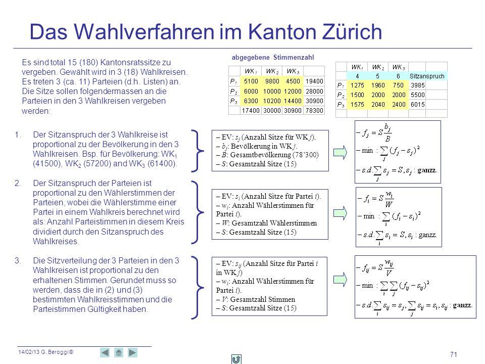14/02/13 G. Beroggi © 71 Das Wahlverfahren im Kanton Zürich Es sind total 15 (180) Kantonsratssitze zu vergeben. Gewählt wird in 3 (18) Wahlkreisen. E