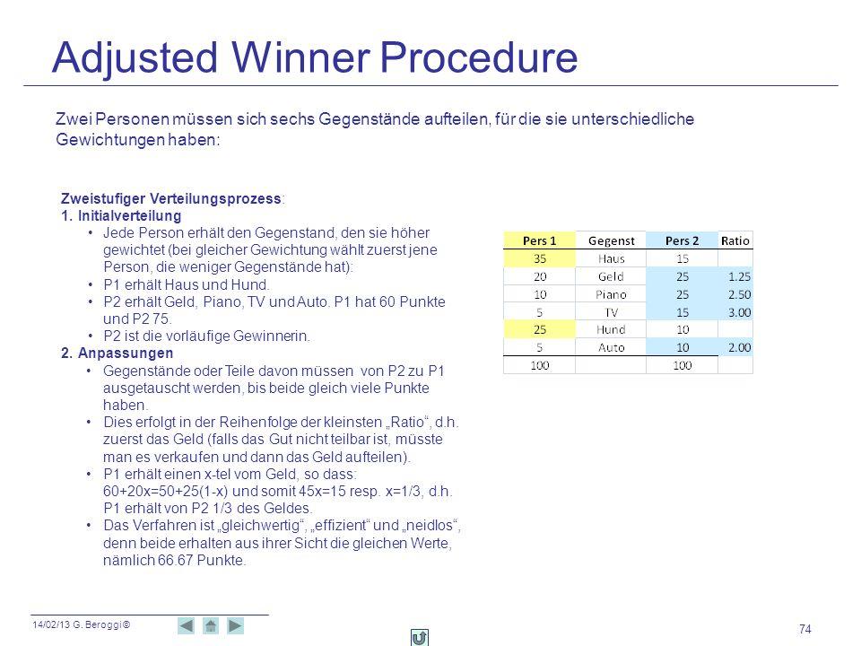 14/02/13 G. Beroggi © Adjusted Winner Procedure 74 Zwei Personen müssen sich sechs Gegenstände aufteilen, für die sie unterschiedliche Gewichtungen ha