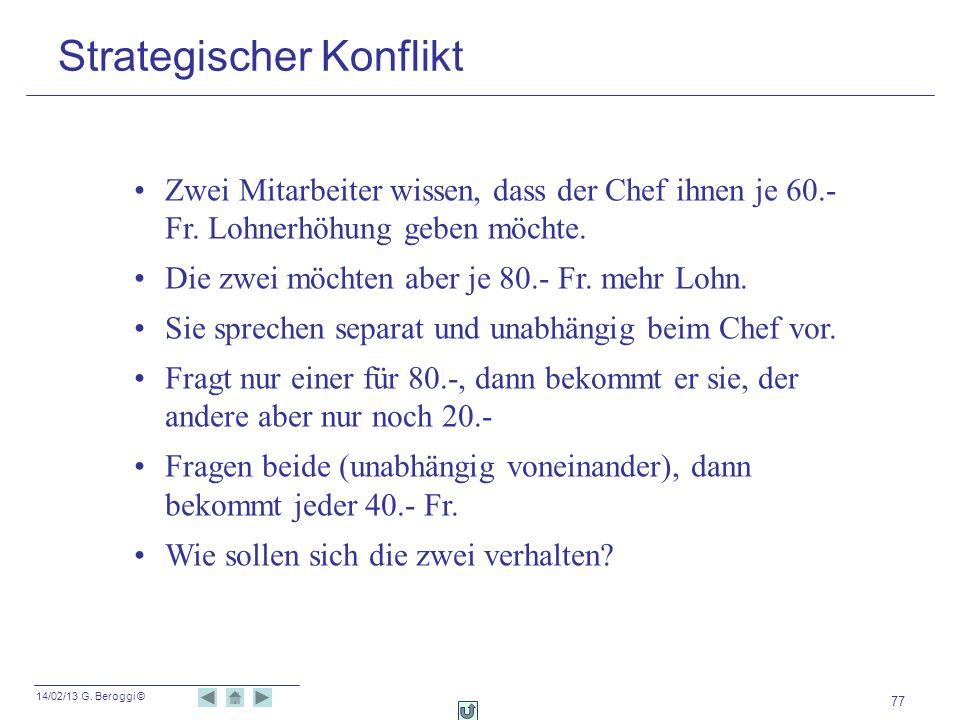 14/02/13 G. Beroggi © 77 Strategischer Konflikt Zwei Mitarbeiter wissen, dass der Chef ihnen je 60.- Fr. Lohnerhöhung geben möchte. Die zwei möchten a