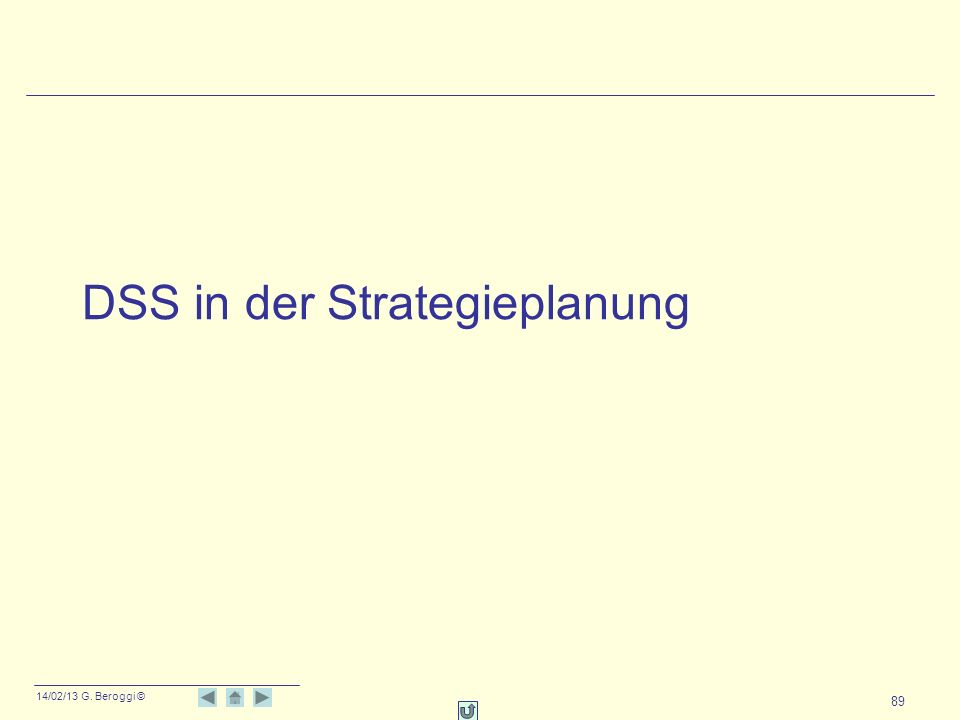 14/02/13 G. Beroggi © 89 DSS in der Strategieplanung