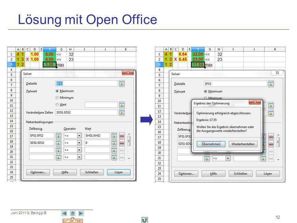Juni 2011 G. Beroggi © zum roten Faden 12 Lösung mit Open Office