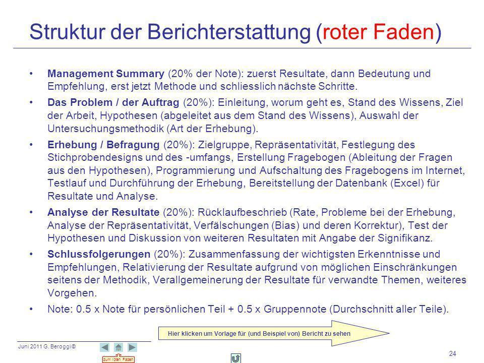 Juni 2011 G. Beroggi © zum roten Faden 24 Struktur der Berichterstattung (roter Faden) Management Summary (20% der Note): zuerst Resultate, dann Bedeu