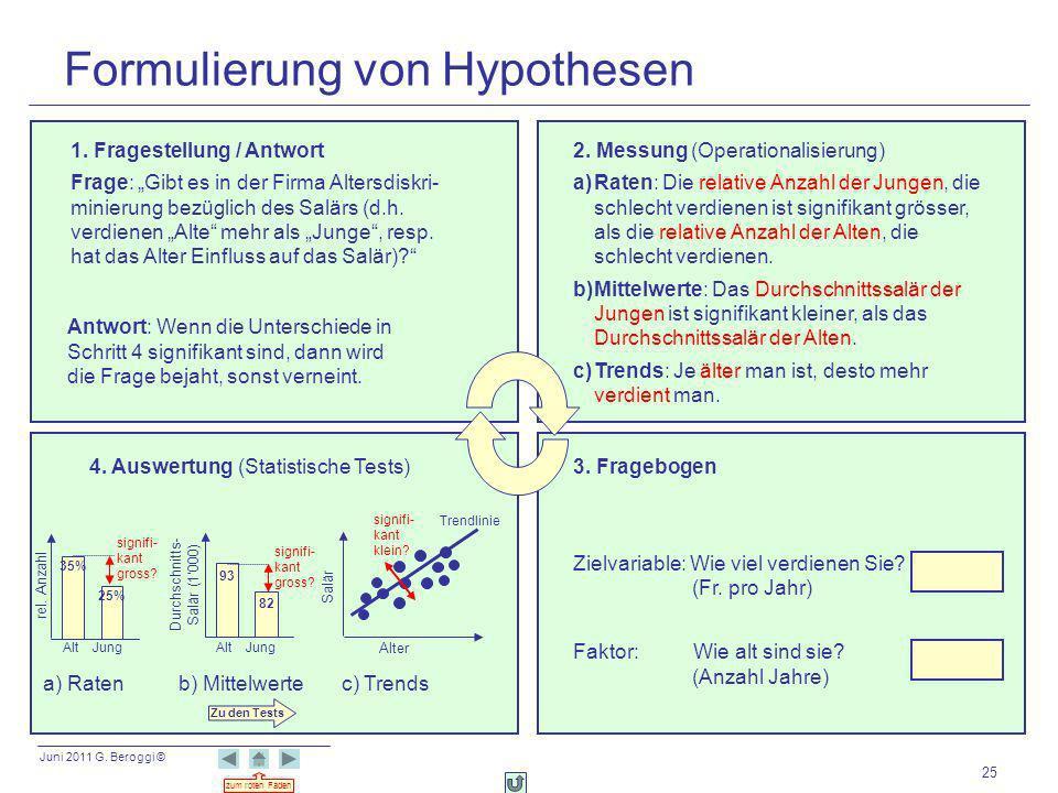 Juni 2011 G. Beroggi © zum roten Faden 25 Formulierung von Hypothesen 2. Messung (Operationalisierung) a)Raten: Die relative Anzahl der Jungen, die sc