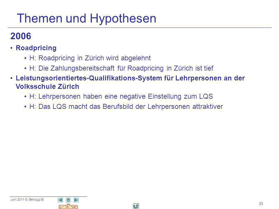 Juni 2011 G. Beroggi © zum roten Faden 33 Themen und Hypothesen 2006 Roadpricing H: Roadpricing in Zürich wird abgelehnt H: Die Zahlungsbereitschaft f