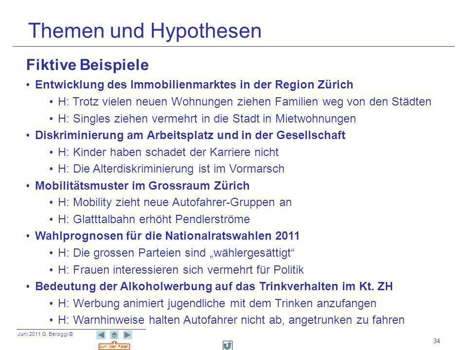 Juni 2011 G. Beroggi © zum roten Faden 34 Themen und Hypothesen Fiktive Beispiele Entwicklung des Immobilienmarktes in der Region Zürich H: Trotz viel