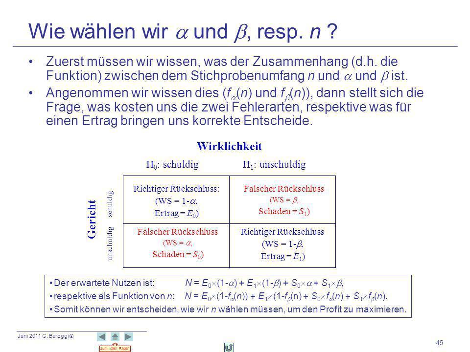 Juni 2011 G. Beroggi © zum roten Faden 45 Wie wählen wir und, resp. n ? Zuerst müssen wir wissen, was der Zusammenhang (d.h. die Funktion) zwischen de