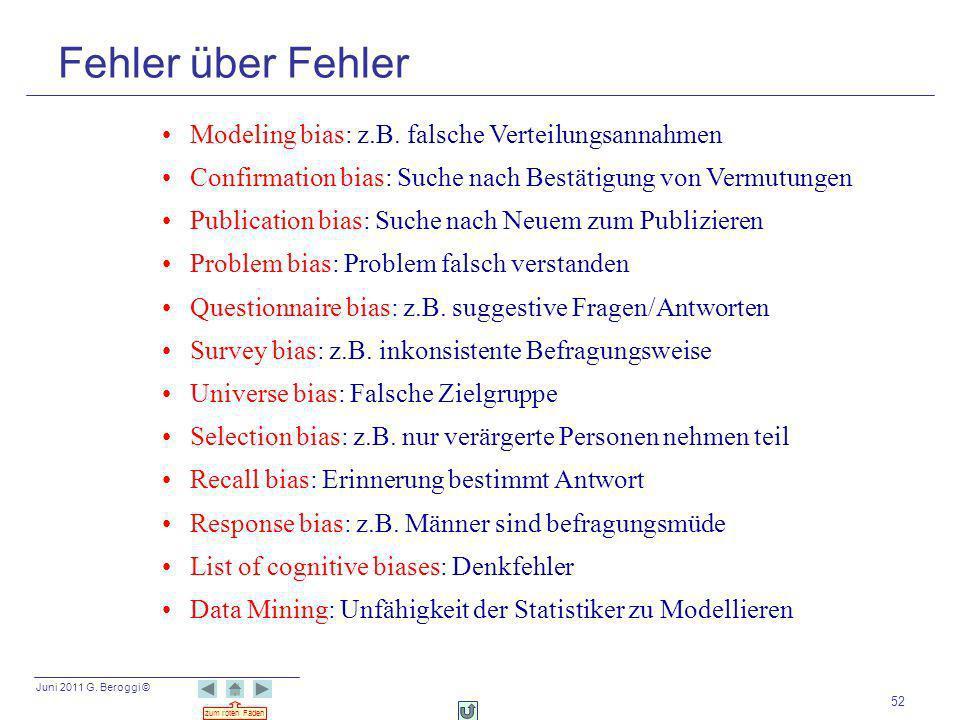 Juni 2011 G. Beroggi © zum roten Faden 52 Modeling bias: z.B. falsche Verteilungsannahmen Confirmation bias: Suche nach Bestätigung von Vermutungen Pu